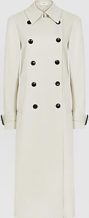 Reiss Pixie - Pleat Detailed Trench Coat in Stone, Womens, Size 14