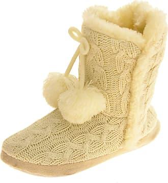 Footwear Studio Dunlop Womens Cream Eleanor Slipper Boots UK 7-8