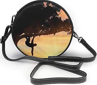 Turfed Animal On The Tree Sunset Fashion Round PU Crossbody Handbag Round Shoulder Bag For Women Girls