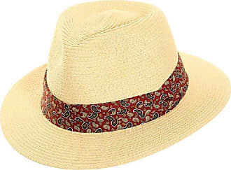Hawkins Mens Foldable Straw in Panama Shape-Style with Paisley Band Summer Sun Hat (Red Paisley Band)