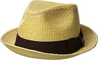Brixton Mens Castor Straw Fedora Hat, tan stripe, Small