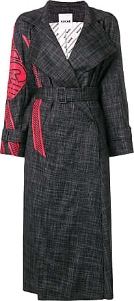 Koché Trench coat com estampa - Preto