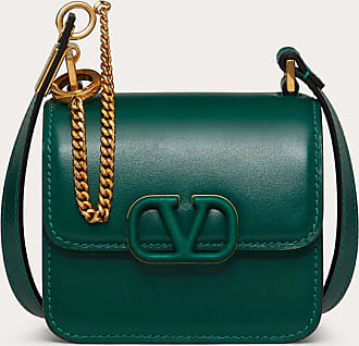 Valentino Garavani Valentino Garavani Micro Vsling Shiny Calfskin Shoulder Bag Women Green Calfskin 100% OneSize