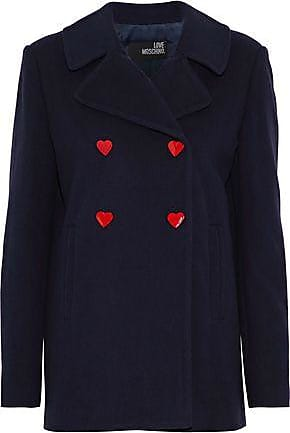 Love Moschino Love Moschino Woman Double-breasted Snap-detailed Wool-blend Coat Midnight Blue Size 40