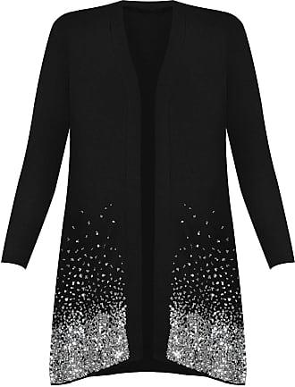 Islander Fashions Ladies Christmas Sparkle Sequin Open Front Long Sleeve Top Plus Size Cardigan Black UK 18