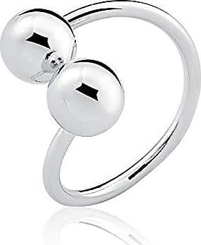 Toque De Joia Anel semijoia duas esferas pequenas liso ouro branco