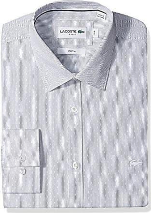 4d58988b6a76 Lacoste Mens Long Sleeve Spread Collar Striped Jacquard Stretch Poplin