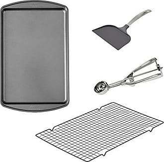Wilton Cookie Baking Set 4-Piece - 17.25 x 11.5-Inch Non-Stick Cookie Sheet - 16 x 10-Inch Non-Stick Cooling Rack, Non-Stick Spatula, and Stainless Steel Cookie Scoop