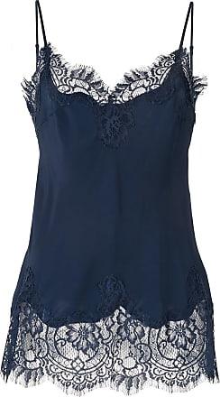 Gold Hawk Blusa de seda com acabamento em renda - Azul