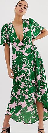 Missguided Vestito midi a portafoglio verde con scollo profondo e stampa tropicale di palme-Multicolore