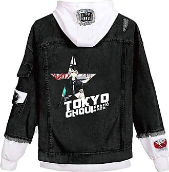 Cosstars Anime Tokyo Ghoul Kaneki Ken Hooded Denim Jacket Unisex Cosplay Button Trucker Jeans Coat Black-4-L