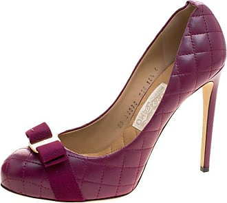 01d762c9d4c Salvatore Ferragamo Burgundy Quilted Leather Pimpa Vara Bow Pumps Size 41