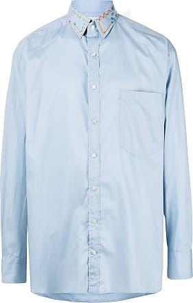Kolor long sleeve stitch detail shirt - Blue