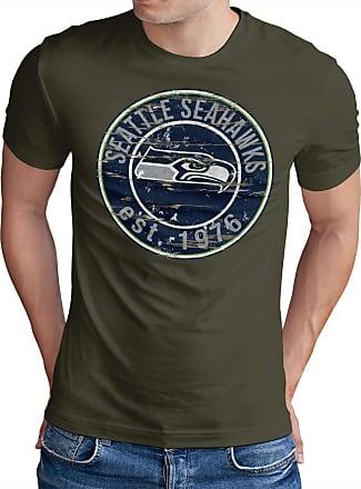 OM3 Seattle-Badge - T-Shirt | Mens | American Football Shirt | L, Olive