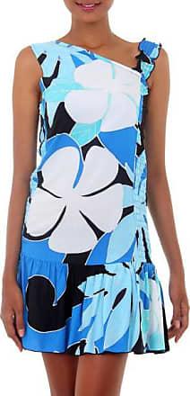 Novica Dress, Tropical Blue Flirt - Hand Painted Floral Sundress