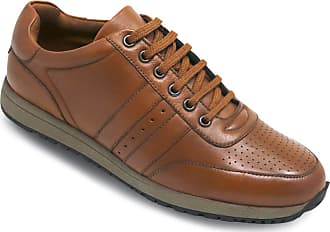 Chums Mens Leather Lace Trainer Tan 11 UK