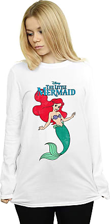 Absolute Cult Disney Womens The Little Mermaid Line Ariel Boyfriend Fit Long Sleeved T-Shirt White XX-Large