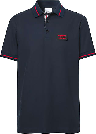 Burberry Camisa polo com patch de logo - Azul
