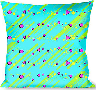 Buckle Down Pillow Decorative Throw Eighties Party Blue Yellow Pink