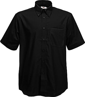Fruit Of The Loom New Button-Down Collar Oxford Short Sleeve Shirt Size 3XL Black