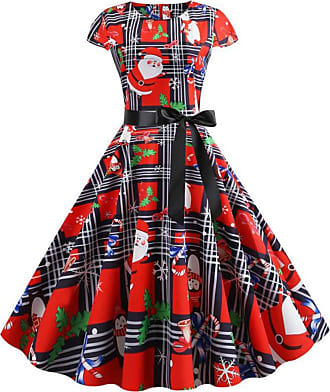 FeelinGirl Womens Party Evening Dress Round Neck Short Sleeve Bow-Knot Christmas Dress Santa Claus Printing Ball Gown Prom Festival Midi Dress Mix Color XXL