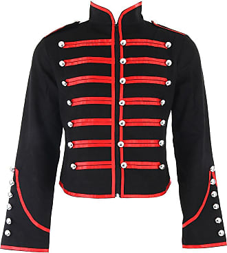 Banned Military Jacket (Black, Red Or Silver) (XXL, Red)