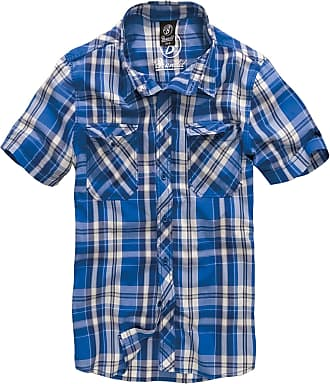 Brandit Roadstar Mens Casual Shirt with Buttons - Short Sleeve - Blue - X-Large