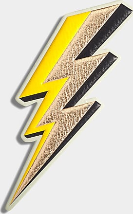 Anya Hindmarch Lightning Bolt Oversized Sticker Metallic Capra in Pale Gold