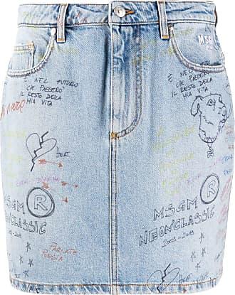 Msgm doodle denim mini skirt - Blue