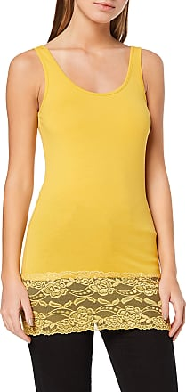 Jacqueline de Yong Womens JDYAVA Long LACE TOP JRS NOOS Tank, Yellow (Spicy Mustard Spicy Mustard), Large