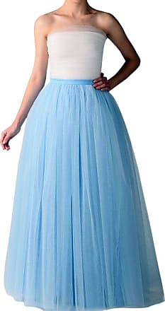 Clearbridal Womens 50s Vintage Tulle Petticoat A Line Mixi Long Prom Party Tutu Skirt 12023 Light Blue