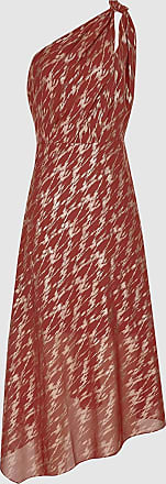 Reiss Delilah - One Shoulder Metallic Dress in Red, Womens, Size 18