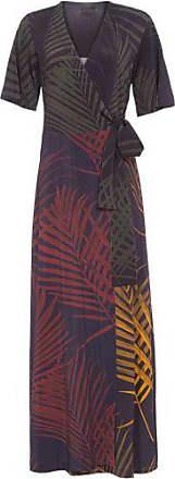 Osklen Vestido Transpasse Mix Palm Leaf Osklen - Preto