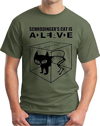 OM3 Big Bang - Schroedingers CAT - T-Shirt is Alive is Dead Schroedingers Katze, 4XL, Olive