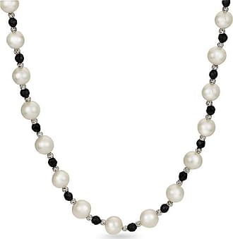 Zales 8.0 - 9.0mm Oval Cultured Freshwater Pearl and Onyx Alternating Brilliance Bead Necklace with Sterling Silver Clasp