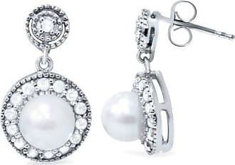 Pompeii3 40CT Diamond & Pearl Vintage Gatsby Style Earrings 10K White Gold
