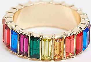 Asos Curve ASOS DESIGN Curve ring with rainbow baguette crystal stones in gold tone