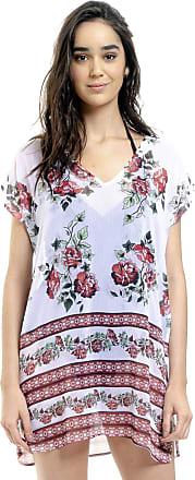 101 Resort Wear Blusa Tunica Decote V Crepe Fenda Lateral Floral Barrado (G)
