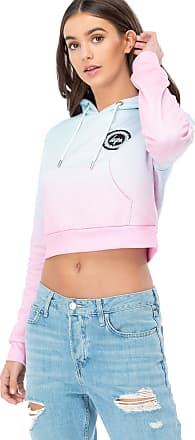 Hype Womens Crop Hoodie Speckle Fade Crest Lilac/Pink (UK 10)
