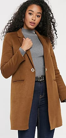 Pimkie mid length button front coat in brown-Beige