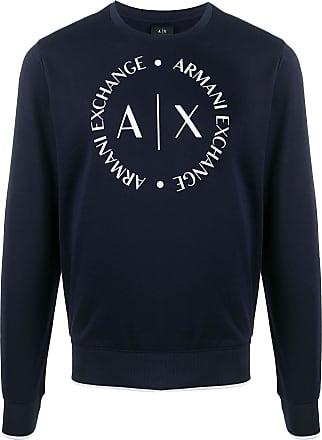 A|X Armani Exchange Moletom com estampa de logo no busto - Azul