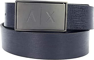 Armani Leather Belt with Logo Latch, Ceinture Homme, Bleu (Navy Black 03739 d29de2fb2bc