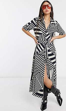 Selected Femme pleated midi dress in stripe print-Multi