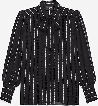 The Kooples Black shirt with pussy bow neck, print & logo - WOMEN