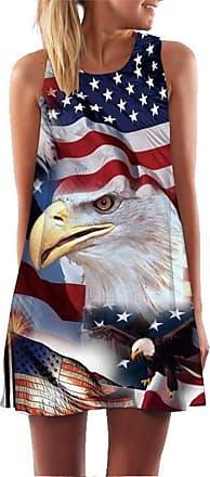 Ocean Plus Womens Sleeveless Vintage Boho Beach Dress Sundress Tank Tops Beach Dress Round Neck Short A Line Shirt Dress Blouse Dress (XXL (UK 14-16), American E