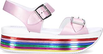 Hogan Platform Sandals H369 smooth leather pale pink