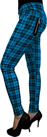 Banned Apparel Check Skinny Jeans Blue S