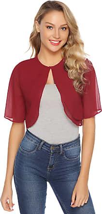 Abollria Womens Shrugs Summer Sheer Chiffon Short Sleeve Open Front Bolero Shrug Jacket Wine Red