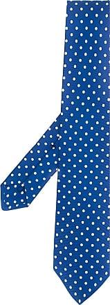 Kiton Gravata de seda com poás - Azul