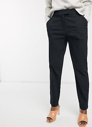 Warehouse jacquard houndstooth slim tailored trousers in black